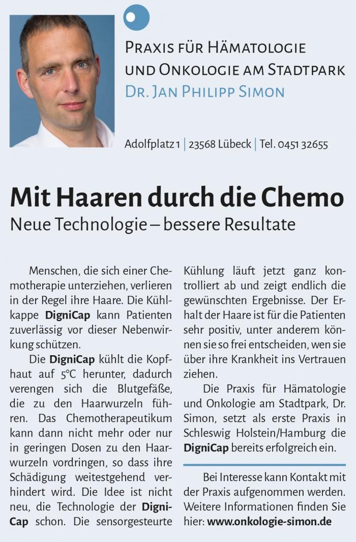 Zeitungsbericht in Lübecker Nachrichten (13. Mai 2016) über Behandlung mit DigniCap in der Onkologischen Praxis.