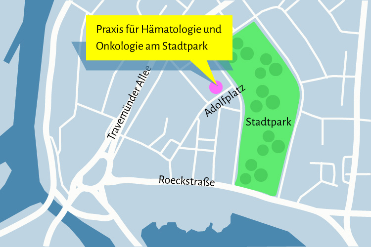 Lageplan des Praxisstandortes Adolplatz 1 in Lübeck: Der Stadtpark bildet mit den links von ihm gelegenen Straßen Travemünder Allee und der Roeckstraße ein liegendes Dreieck. Die Praxis befindet in diesem Dreieck rechts oben.
